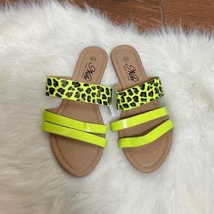 NEW sandals neon leopard womens summer 6